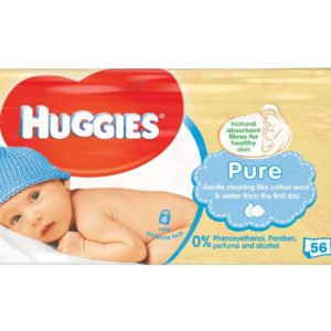 HUGGIES BABY WIPES 56CT PURE