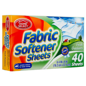 Home Select 40 Fabric Softener Sheets Fresh Outdoors
